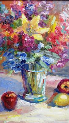 Fruit And Flowers Still Life Art Print