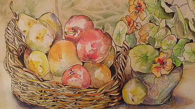Painting - Fruit And Nasturtiums by Cheryl Miller