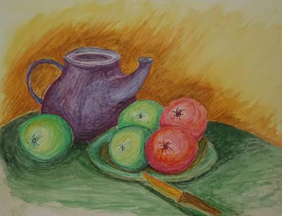 Paul Morgan Painting - Fruit And Pot by Paul Morgan