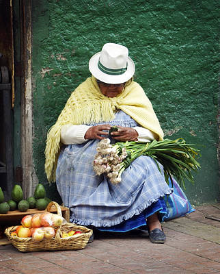 Women Photograph - Fruit And Vegetable Vendor Cuenca Ecuador by Kurt Van Wagner