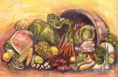 Fruit And Veggie Basket Art Print by Jodie  Scheller