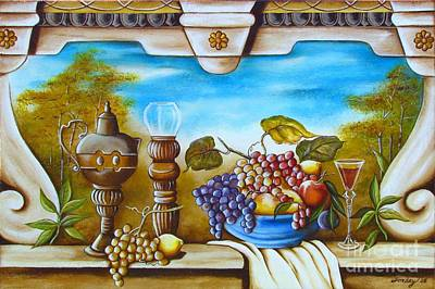 Art Print featuring the painting Fruit And Vino by Joseph Sonday