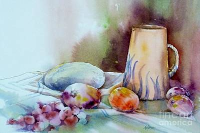 Painting - Fruit And Water Jug by Donna Acheson-Juillet