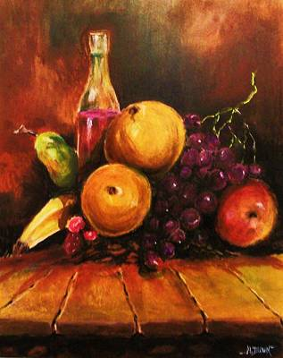 Art Print featuring the painting Fruit And Wine by Al Brown