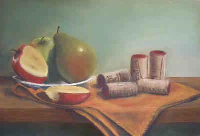 Fruit And Wine Corks Art Print by Ellen Minter