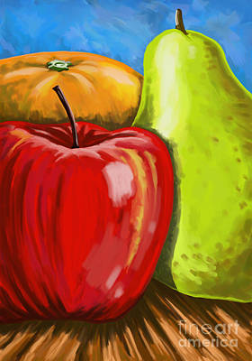Painting - Fruit-apple-pear-orange by Tim Gilliland
