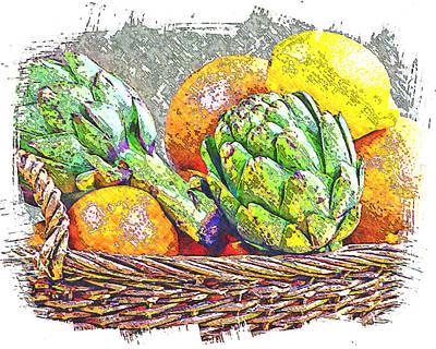 Grapefruit Digital Art - Fruit Basket I by Ken Evans