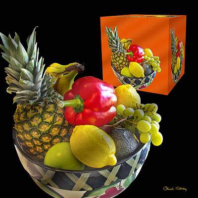 Fruit Bowl And Cube Art Print by Chuck Staley