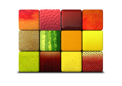 Kiwi Digital Art - Fruit Cubes by Allan Swart