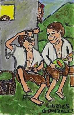 Fruit Eating Boys In Seville Art Print by Cibeles Gonzalez