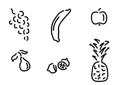 Vegetables Drawing - Fruits by Lineamentum