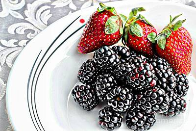 Strawberry Sundae Photograph - Fruit I - Strawberries - Blackberries by Barbara Griffin