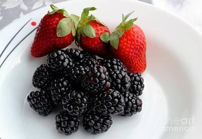 Strawberry Sundae Photograph - Fruit IIi - Strawberries - Blackberries by Barbara Griffin
