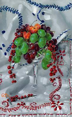 Red Thread Painting - Fruit In A Crystal Goblet On Cloth by Catherine Considine