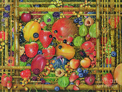Hand Made Painting - Fruit In Bamboo Box by EB Watts