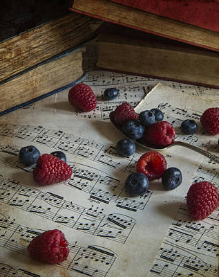 Old Sheet Music Photograph - Fruit In Vintage Table Setting With Antique Paraphenalia With Ad by Matthew Gibson