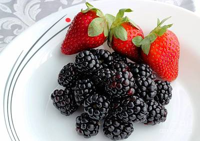 Fruit Iv - Strawberries - Blackberries Art Print by Barbara Griffin