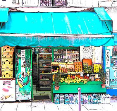 Awnings Digital Art - Fruit Market In Paris by Jan Matson