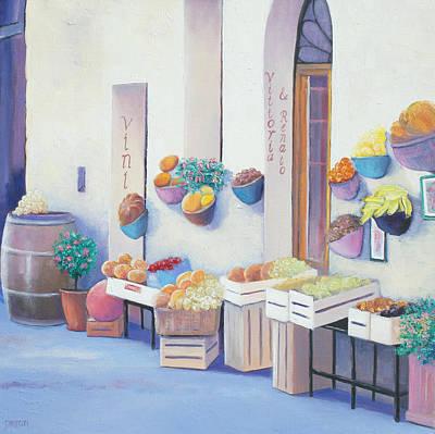 Lobby Art Painting - Fruit Market In Tuscany by Jan Matson