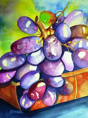 Dessert Wine Painting - Purple Grapes by Jane Ricker