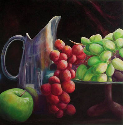Silver Pitcher Painting - Fruit Of The Vine by Shannon Grissom