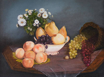 Fruit On Table Art Print by Virginia Butler