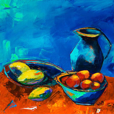 Black Background Painting - Fruit Palette by Elise Palmigiani