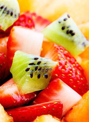 Kiwi Photograph - Fruit Salad Macro by Johan Swanepoel
