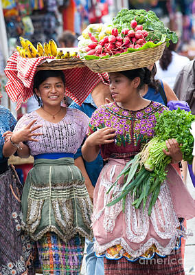 Chatting Photograph - Fruit Sellers In Antigua Guatemala by David Smith