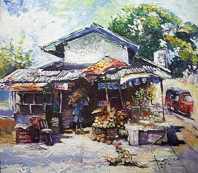 Painting - Fruit  Shop In Srilanka by Paul Weerasekera