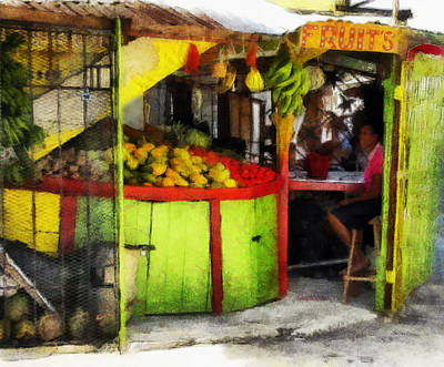Digital Art - Fruit Stand In Jamaica - Art By Ann Powell by Ann Powell