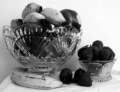 Strawberries Photograph - Fruit Still Life 4 Black And White by Margaret Newcomb
