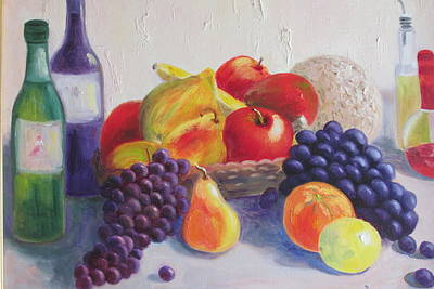 Italian Wine Painting - Fruit Still Life by Becky Bragg