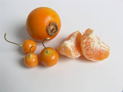 Fruit Still Live - Custard Apple - Tangerine - Uchuva Art Print by Lina Isaza