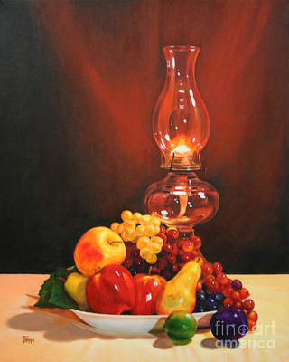 Fruit Under Lamp Light Art Print by Jimmie Bartlett