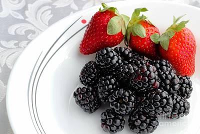 Strawberry Sundae Photograph - Fruit V - Strawberries - Blackberries by Barbara Griffin