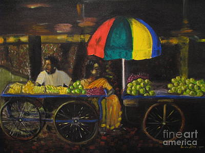 Art Print featuring the painting Fruit Vendors by Brindha Naveen
