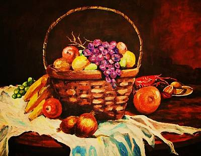 Painting - Fruit Wickerbasket Etc. by Al Brown