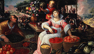 Cabbage Wall Art - Photograph - Fruitmarket Summer, 1590 by Frederik Valckenborch