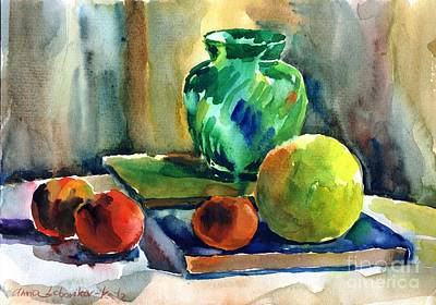 Painting - Fruits And Artbooks by Anna Lobovikov-Katz