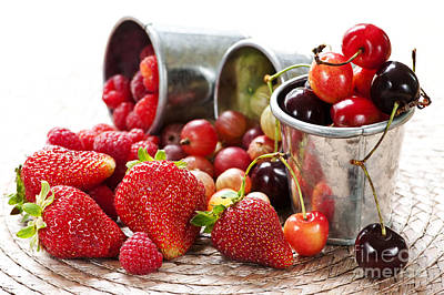 Raspberry Photograph - Fruits And Berries by Elena Elisseeva