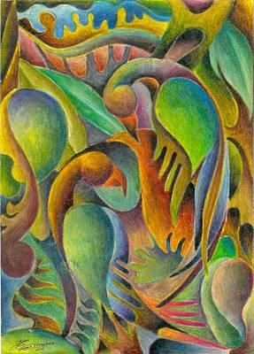 Fruits And Birds  Art Print by Jaanaka Kandepola