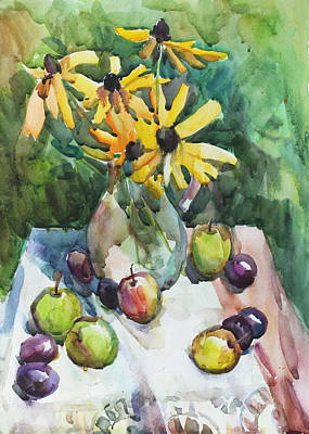 Painting - Fruits And Camomiles by Juliya Zhukova