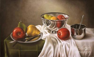 Pencil Drawing - Fruits And Silver by Ranjini Venkatachari