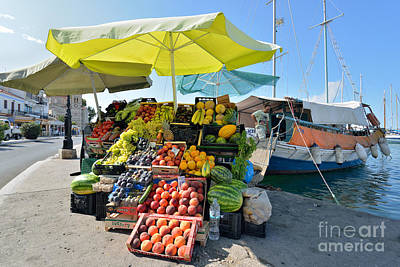 Photograph - Fruits And Vegetable Store On A Boat In Aegina Port by George Atsametakis