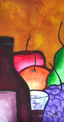 Glass Of Wine Painting - Fruits And Wine Still Life Painting By Saribelle by Saribelle Rodriguez