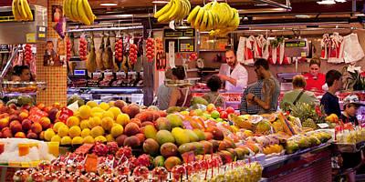 Fruits At Market Stalls, La Boqueria Art Print by Panoramic Images
