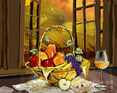 Raspberry Digital Art - Fruits Basket by Peter Awax