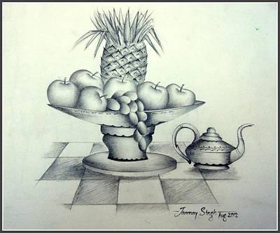 Drawing - Fruits In Basket by Tanmay Singh