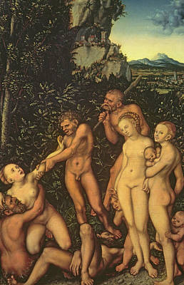Struggling Painting - Fruits Of Jealousy by Lucas the elder Cranach